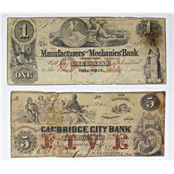 2-COIN NOTES. $5 CAMBRIDGE CITY BANK