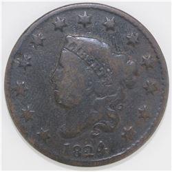1824/2 LARGE CENT VG