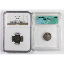1875 AND 1877-CC SEATED DIMES
