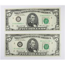 TWO 1974 FEDERAL RESERVE STAR NOTES