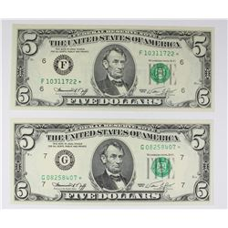 TWO 1974 $5.00 FEDERAL RESERVE STAR NOTES