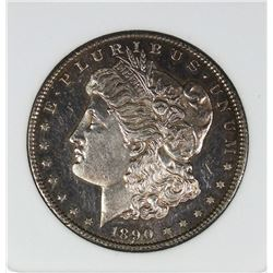 1890-CC TAILBAR MORGAN SILVER DOLLAR