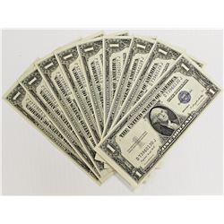 9 PCS. 1935-G $1.00 SILVER CERTIFICATES