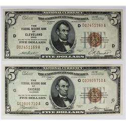 TWO 1929 $5.00 FEDERAL RESERVE BANK NOTES