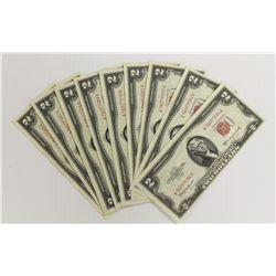 (9) 1953-C $2.00 U.S. NOTES