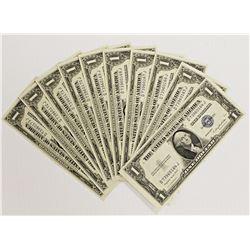 10 PCS. 1935-G $1.00 SILVER CERTIFICATES