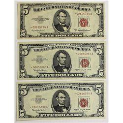 THREE $5.00 U.S. NOTES: STAR NOTES: