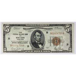 1929 $5.00 FEDERAL RESERVE BANK NEW YORK