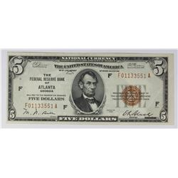 1929 $5.00 FEDERAL RESERVE BANK ATLANTA