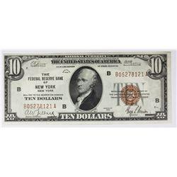 1929 $10.00 FEDERAL RESERVE BANK NEW YORK