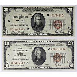 TWO 1929 $20.00 FEDERAL RESERVE BANK NOTES