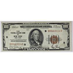 1929 $100.00 FEDERAL RESERVE BANK NEW YORK