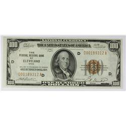 1929 $100.00 FEDERAL RESERVE BANK CLEVELAND
