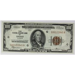1929 $100.00 FEDERAL RESERVE BANK CHICAGO