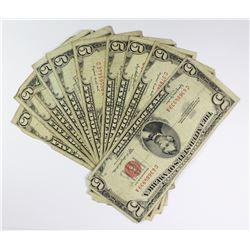 (10) 1953 $5.00 RED SEALS