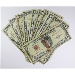(10) 1963 $5.00 RED SEALS