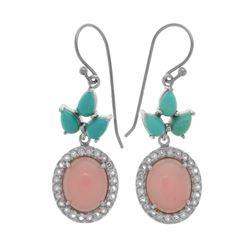 Silver Campo Turquoise & Guava Quartz Drop Earring
