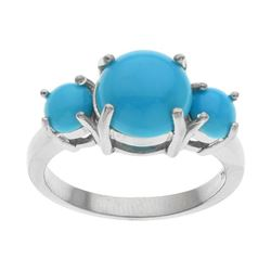 Silver Sleeping Beauty Turquoise Band Ring-SZ 7