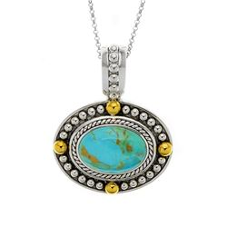 Sterling Silver Turquoise Gold Bead Accent Pendant