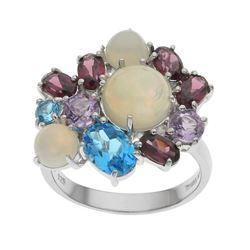 Silver Opal & Multi Gemstone Cluster Ring-SZ 5