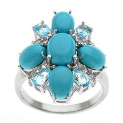 Silver Sonora Beauty Turquoise & Topaz Ring-SZ 6