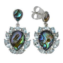 Silver Abalone Doublet Halo Drop Earrings
