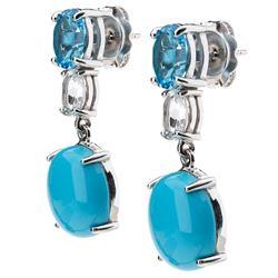 Silver Sonora Beauty Turquoise & Topaz Earrings