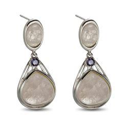 Sterling Silver Morganite & Iolite Drop Earring