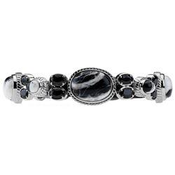 "Silver White Buffalo & Spinel Bracelet 6.7"""