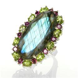 Sterling Silver Labradorite & Gemstones Ring-SZ 9