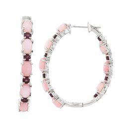 Silver Pink Opal & Garnet Inside-Out Hoop Earrings