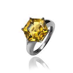 Sterling Silver Hexagon Cut Citrine Ring-SZ 7