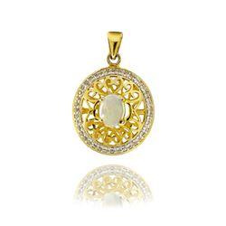 Gold over Silver Opal & Topaz Filigree Pendant