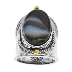 Sterling Silver Tuxedo Agate Wide Band Ring-SZ 8