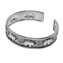 Sterling Silver Elephant Etched Cuff