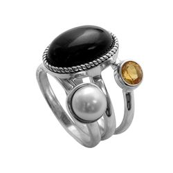 Set of Silver Onyx, Pearl & Citrine Ring-SZ 9