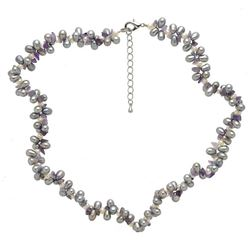 Silver Lavender Pearl & Amethyst Necklace 16""