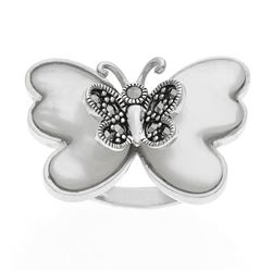 Sterling Silver MOP & Marcasite Butterfly Ring-SZ9