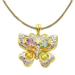 18K Gold Plated Multi-gemstone Butterfly Pendant
