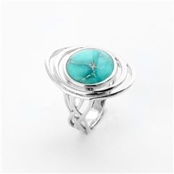 Silver 12mm Campo Turquoise Elongated Ring-SZ 5