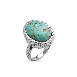 Sterling Silver Mine8 Turquoise Textured Ring-SZ 6
