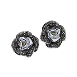 Marcasite Rose Stud Earrings