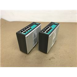 (2) MOXA EDS-G308 DIN Mount Ethernet Switch