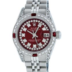 Rolex Ladies Stainless Steel 26MM Maroon Diamond Lugs Datejust Wristwatch