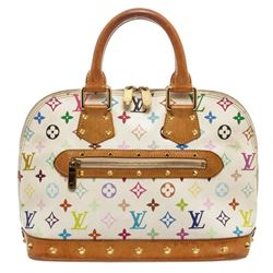 Louis Vuitton White Multicolore Alma MM Satchel Bag