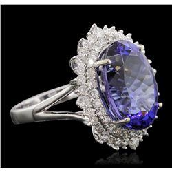 14KT White Gold 11.01 ctw GIA Certified Tanzanite and Diamond Ring