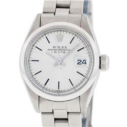 Rolex Ladies Stainless Steel Silver Index Oyster Band Datejust Wristwatch