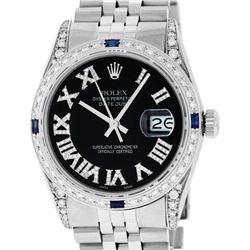 Rolex Mens Stainless Steel Black Roman Diamond & Sapphire Datejust Wristwatch Wi