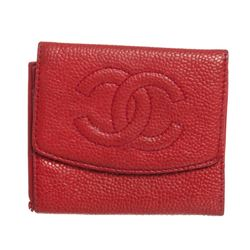 Chanel Red Caviar Leather Compact Coin Wallet