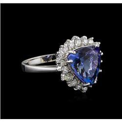4.27 ctw Tanzanite and Diamond Ring - 14KT White Gold